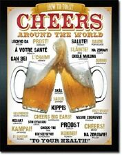 """12 1/2"""" X 16"""" Tin Sign How To Toast Cheers Around The World Metal Sign New"""