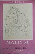 """""""MATISSE : EXPOSITION CANNES 1955"""" Affiche originale entoilée Litho MOURLOT"""