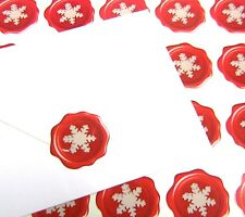 Christmas Snowflake Stickers White on Red Wax Seal Effect for Cards Letters (20)