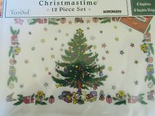 Christmas Placemats Napkin Rings, Napkins, 100% Cotton  NIB