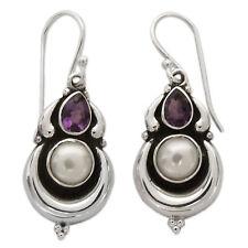 Pearl Dangle Earrings Amethyst Sterling Silver 925 'Jaipur Moon' NOVICA India