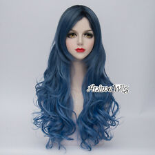 Ombre Lolita 80CM Party Mixed Blue Long Curly Synthetic Hair Cosplay Wig+Wig Cap