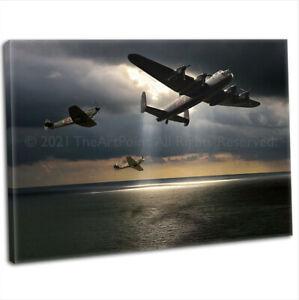 WW2 RAF Lancaster Spitfire & Hurricane Canvas Print Framed Digital Art Painting