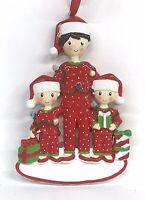 "Mom & Two Kids Ceramic Christmas Tree Ornament Personalize It! 4.5""x 3""x .5"""