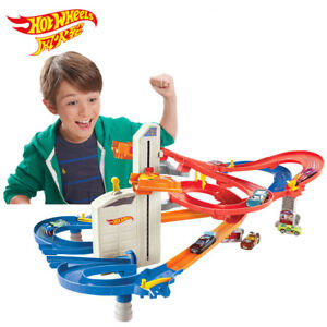 Hot Wheels Auto Lift Expressway Track Set Play With 5 Cars 2 Elevators Toy Boys