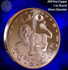 Leo Horoscope Collection 1 oz .999 Copper Round