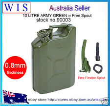 10L Metal Jerry Can w Flexible Spout,Fuel,Petrol,Diesel,Water Storage,Camp,4WD