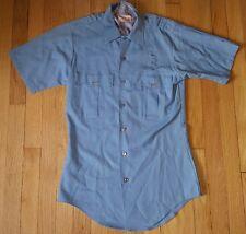 Vintage ELBECO police cop work uniform shirt S 60s 70s blue short sleeve rayon