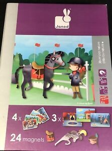 Horses and Riders Interactive Magnet Playset Janod Magneti