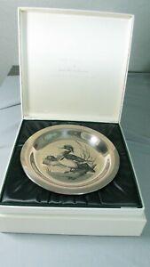 1973 Franklin Mint STERLING SILVER WOOD Duck PLATE w/Box/Documentation 6 OZ