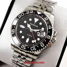 40mm PARNIS black dial ceramic bezel Sapphire glass GMT automatic mens watch
