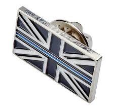 THIN BLUE LINE UK UNION JACK POLICE MOURNING BAND LAPEL PIN TIE BADGE