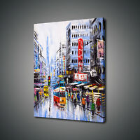 STREET VIEW OF HONG KONG OIL PAINTING STYLE CANVAS PRINT WALL ART PICTURE PHOTO