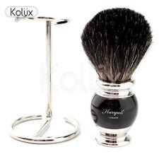 DA BARBA DA UOMO NERO PURO PER CAPELLI Badger Pennello da barba, + free brush holder