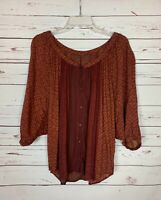 Free People Women's S Small Brown Boho Button 3/4 Sleeves Cute Spring Top Blouse