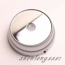 New Round 3D Crystal Glass Paperweights 3 LED Light Stand Base Display Silvery