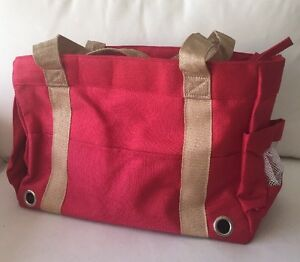 NEW Red Durable Canvas Dog Pet Carrier Shoulder Travel Bag up to 18 Lbs