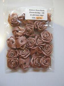 LARGE Satin Ribbon Rose - 25mm.  Packet of 20!  LATTE  **NEW** Free P&P