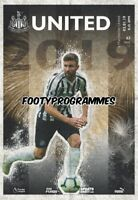 Newcastle United V Manchester United 2/1/19 Premier League Programme