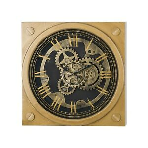 Gold Wall Clock Contemporary Finish with Moving Mechanism Square 45cm Home Decor