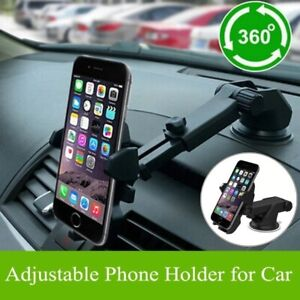 360° Long Arm Car Holder Windshield Mount Bracket For iPhone Samsung Cell Phone