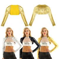 Women Metallic Long Sleeve Cropped Bolero Shrug Top Open Front Cardigan Shirt
