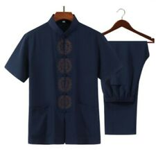 zgyEthnic Men Tang Suits Mulberry Silk Short Sleeve Embroidery T-shirt Pant 2Pcs