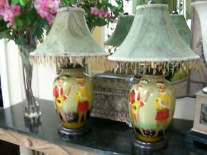 Pair Dressed Monkeys Lamps Countryside Palm Leaf Green Chenille Beaded Shades