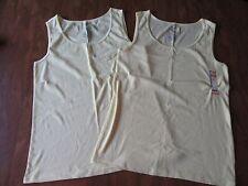 (2) Faded Glory Womens Plus 4X 26W-28W  Light Yellow Rib Tank Top Shirt NEW