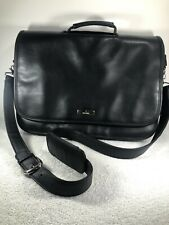 Nine West Black Leather Brief Case Messenger Bag With Lap Top Sleeve Crossbody