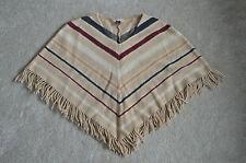 Burberry Classic Beige V Stripe Nova Tassel Poncho 100% Lambswool Wool One Size