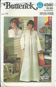 B 4560 sewing pattern 70's stylish CAFTAN GOWN Floral Transfer sew UNCUT size 16