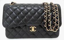 Chanel Jumbo Black Caviar Classic Double Flap Bag GHW New