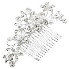 Fascinating Bridal Crystal Pearl Diamante Hair Comb Clip BT V1X1
