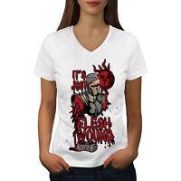 Wellcoda Just A Flesh Wound Womens V-Neck T-shirt, Holy Graphic Design Tee