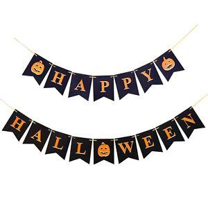 Black/Orange Happy Halloween Pumpkin Bunting Banner Party Decor Hanging Garland