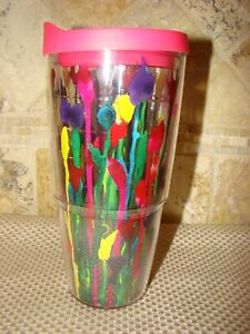 Tervis Tumbler Multicolor Floral with Pink Lid 24 oz