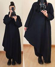 Schwarz Gr 52 54 56 LAGENLOOK LONG TUNIKA KLEID Leinen Kurta asymmetrisch Gothic