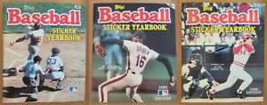 1984, 1985, 1986 Topps Baseball Sticker Yearbooks with 855 Stickers Inside