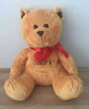 "LINDT PLUSH 11"" Soft Toy - TEDDY BEAR RED BOW - HEART - ZIPPED GIFT COMPARTMENT"