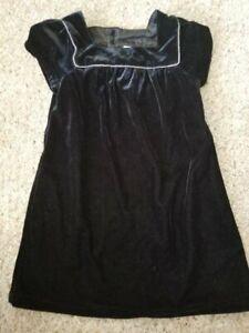 CARTER'S Black Velvet Lined Short Sleeved Dress Girls Size 5T