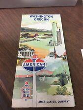 Original 1960's American Oil Road Map Washington Oregon
