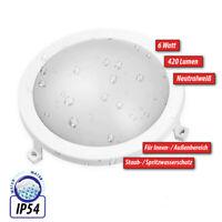 LED IP54 Outdoor 6W Rund Wandleuchte Deckenleuchte Deckenlampe Wetterfest Weiß