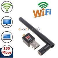 802.11n/g/b 150Mbps Mini USB WiFi Wireless Adapter Network LAN Card w/Antenna GA