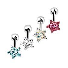 Crystal Tongue Ring Bar Barbell Heart Star Round Circle Ball Gem Cool Piercing