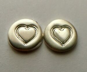 (2) .42 GRAM VALENTINE'S DAY HEARTS .999 SOLID FINE SOLID SILVER BULLION BU !!!!