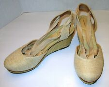 LANDS' END Women's Tan Espadrille Wedge Sandals Wrap Ankle Straps Size 9.5 B