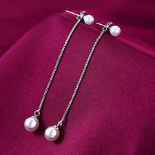 New Women 925 Sterling Silver Plated Ear Stud Long Tassel Pearl Drop Earrings