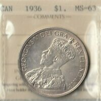 1936 Canada Silver Dollar- 80% Silver- ICCS CERT: MS-63- Only 339,600 Minted