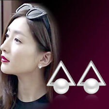 Fashion Retro Lady Jewelry 925 Silver Pearl Triangle Stud Earrings Gift Wedding